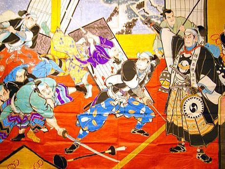 「金沢のしきたり展」で展示されている「赤穂浪士敵入場図」