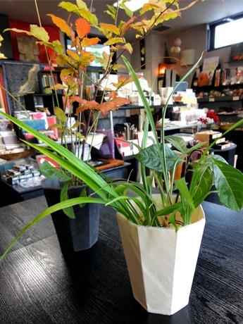 花器「kamiwan(かみわん)」。白色と墨染めの2種類がある。