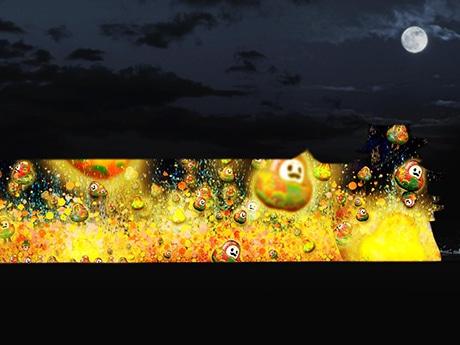 「ひゃくまんさん」が投影される「プロジェクションマッピング」イメージ画像