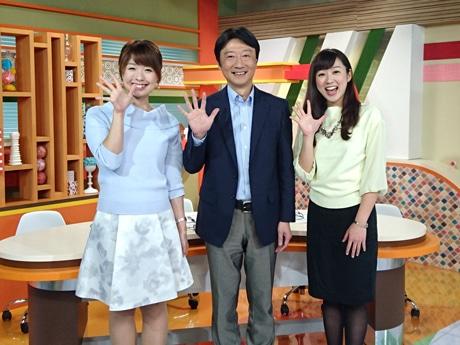 牧野アナ(中央)、上野アナ(右)、久保リポーター(左)