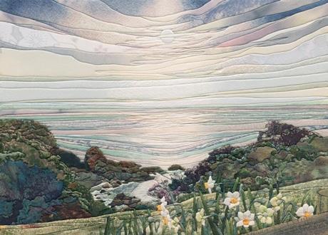 福井県 越前岬の水仙を描いた絹彩画