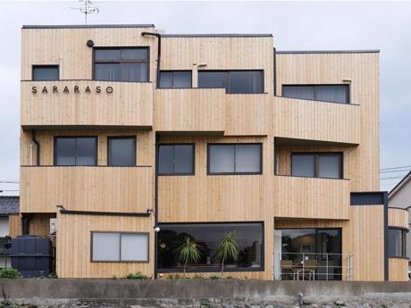 犀川河川敷から見た「SARARASO」外観