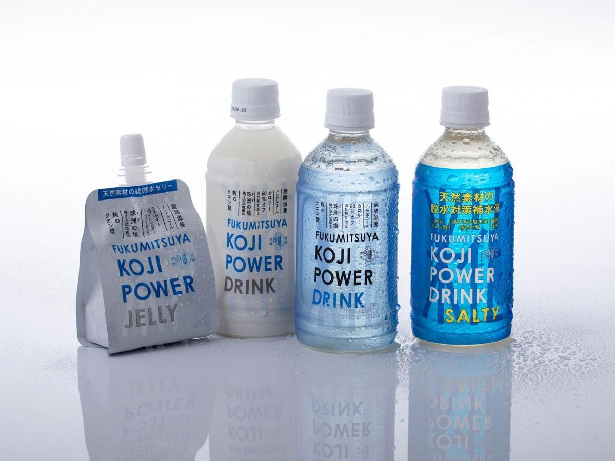 福光屋が発売した脱水対策の経口補水液「KOJI POWER DRINK SALTY」(右)と同シリーズの日常の経口補水液・ゼリー