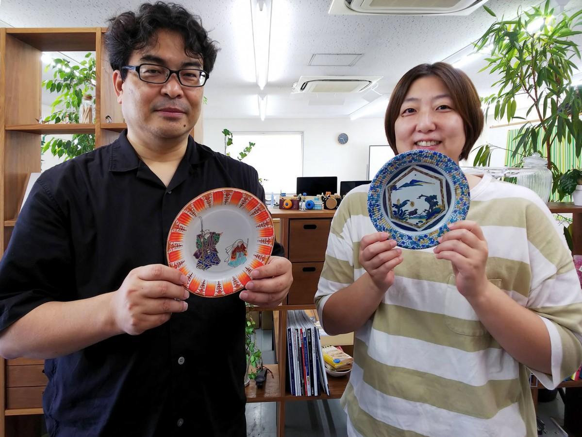 九谷焼紙皿を販売するヨシタデザインプランニングの葭田社長とスタッフ