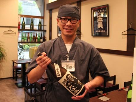 日本酒に詳しいという店長の角出大介さん「北陸の酒を飲み比べて」