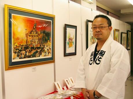 船橋一泰さんと「神田明神大神輿宮入」を描いた作品