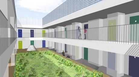 ビルの最上階部分が利用されており、中心の吹き抜け部分には緑が配置される予定