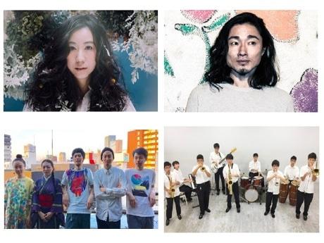 コトリンゴさん(左上)や、小池龍平さん(右上)、馬喰町バンド(左下)、正則学園高等学校ビッグバンド部EMP(右下)