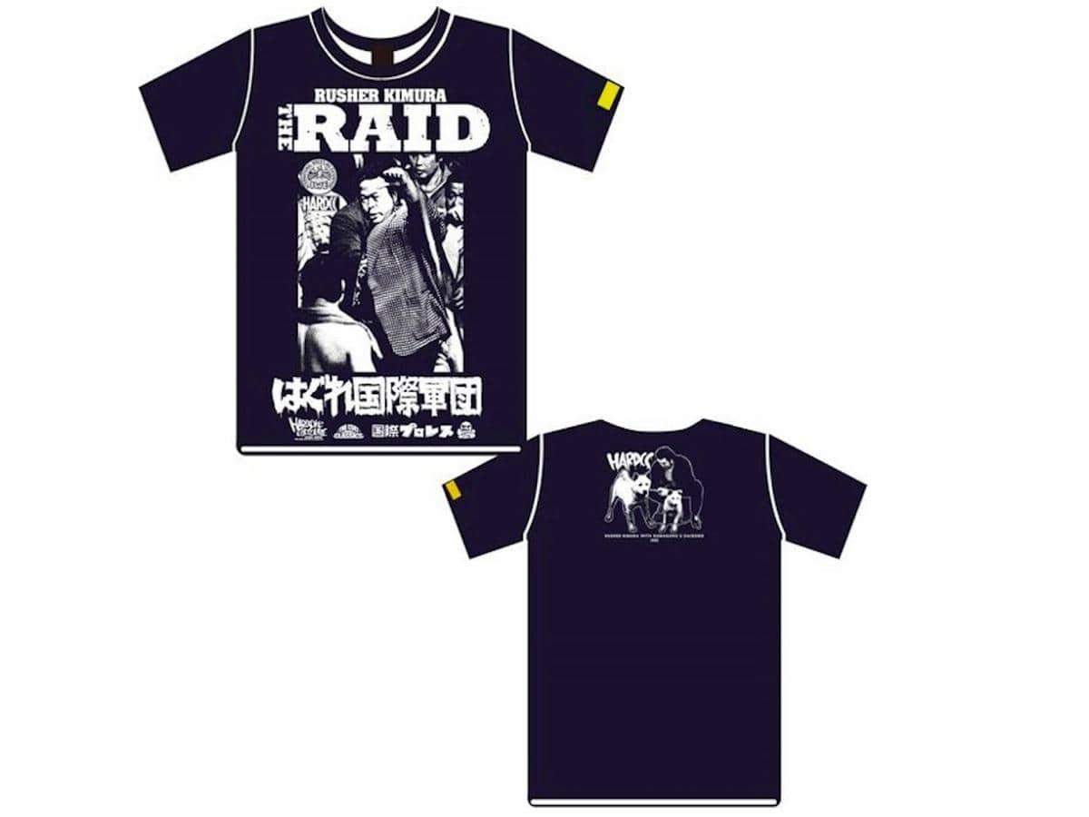 新作プロレスTシャツ「THE RAID-はぐれ国際軍団-(ラッシャー木村)」のイベント限定色(ネイビー)
