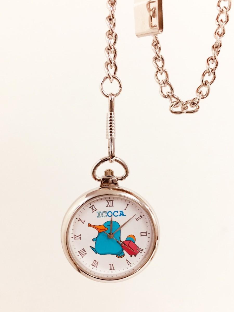 「カモノハシのイコちゃんフタ無し懐中時計(おでかけ)」