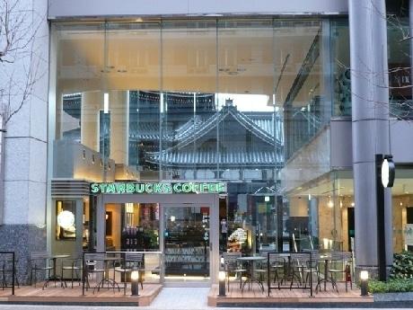 1月30日にオープンした「スターバックス コーヒー 京都烏丸六角店」。