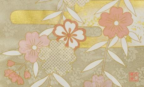 着物柄を使った「和紙名刺」のサンプルイメージ写真