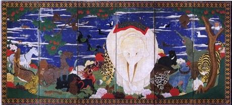 鳥獣花木図屏風