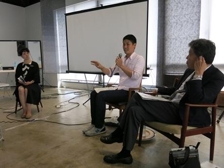 (左から)河東梨香さん、大垣守可さん、山下晃正副知事