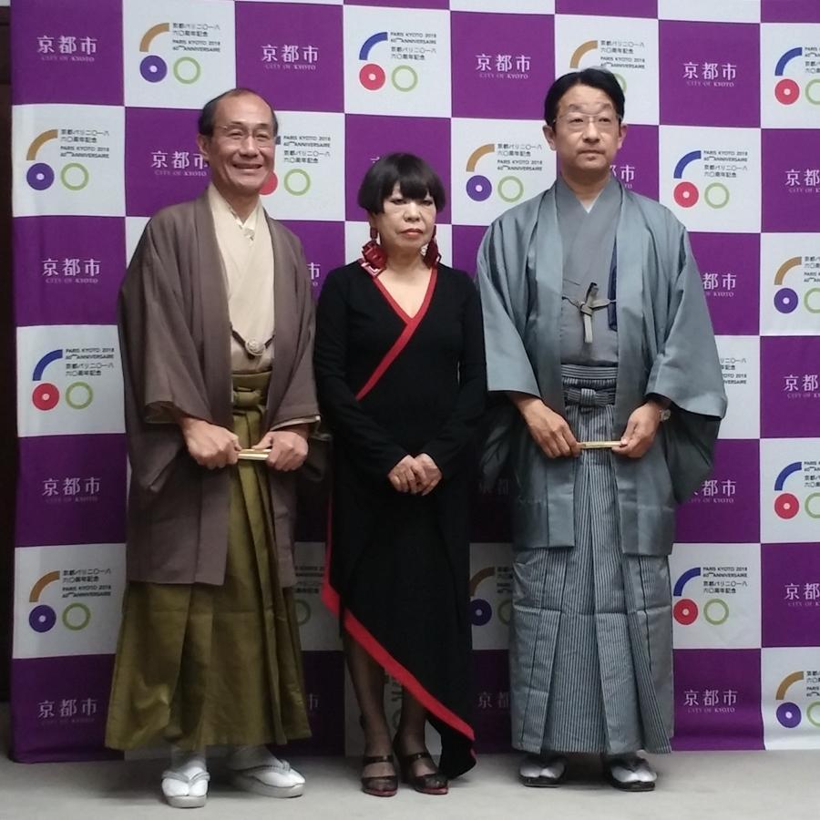 (左から)門川大作京都市長、コシノジュンコさん、分林道治さん