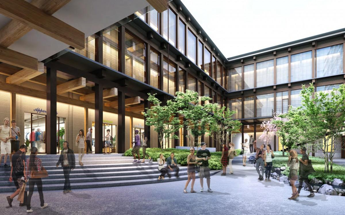 「エースホテル」中庭(提供:隈研吾建築都市設計事務所)