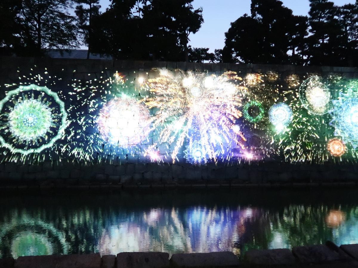 二条城に上がったデジタルの「花火」