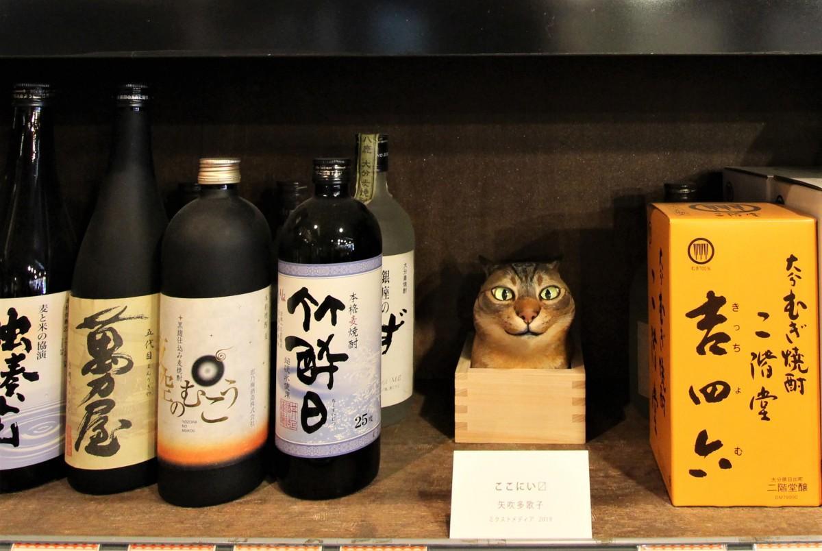 100年以上続く酒店「永文商店」内に設置した、矢吹多歌子さんの作品