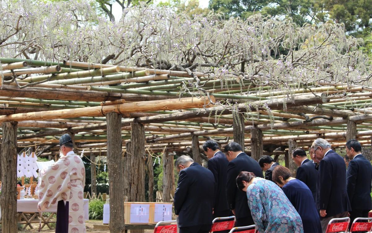 多くの関係者が集まる、鎮花祭の様子
