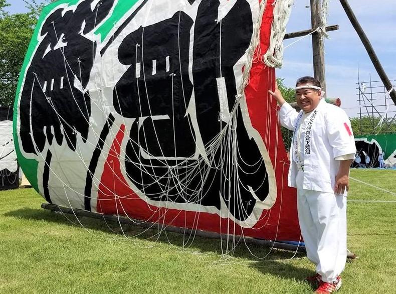 今年の「大凧あげ祭り」での石原さん