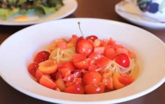 春日部のイタリアン店がサクランボ使う冷製スパゲティー 一皿に佐藤錦10粒超