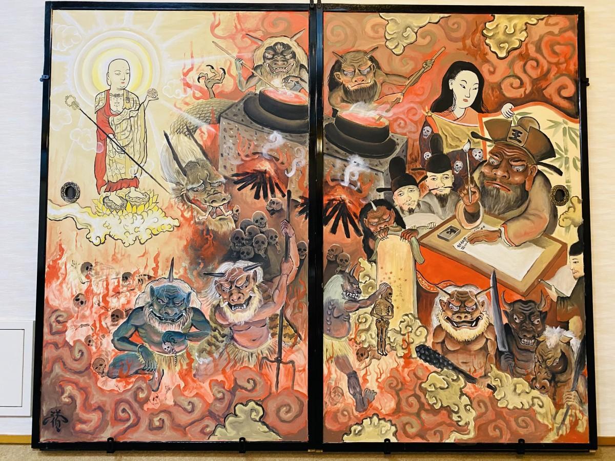 妖怪画アーティスト・YOHAKUさん作のふすま絵「救済」