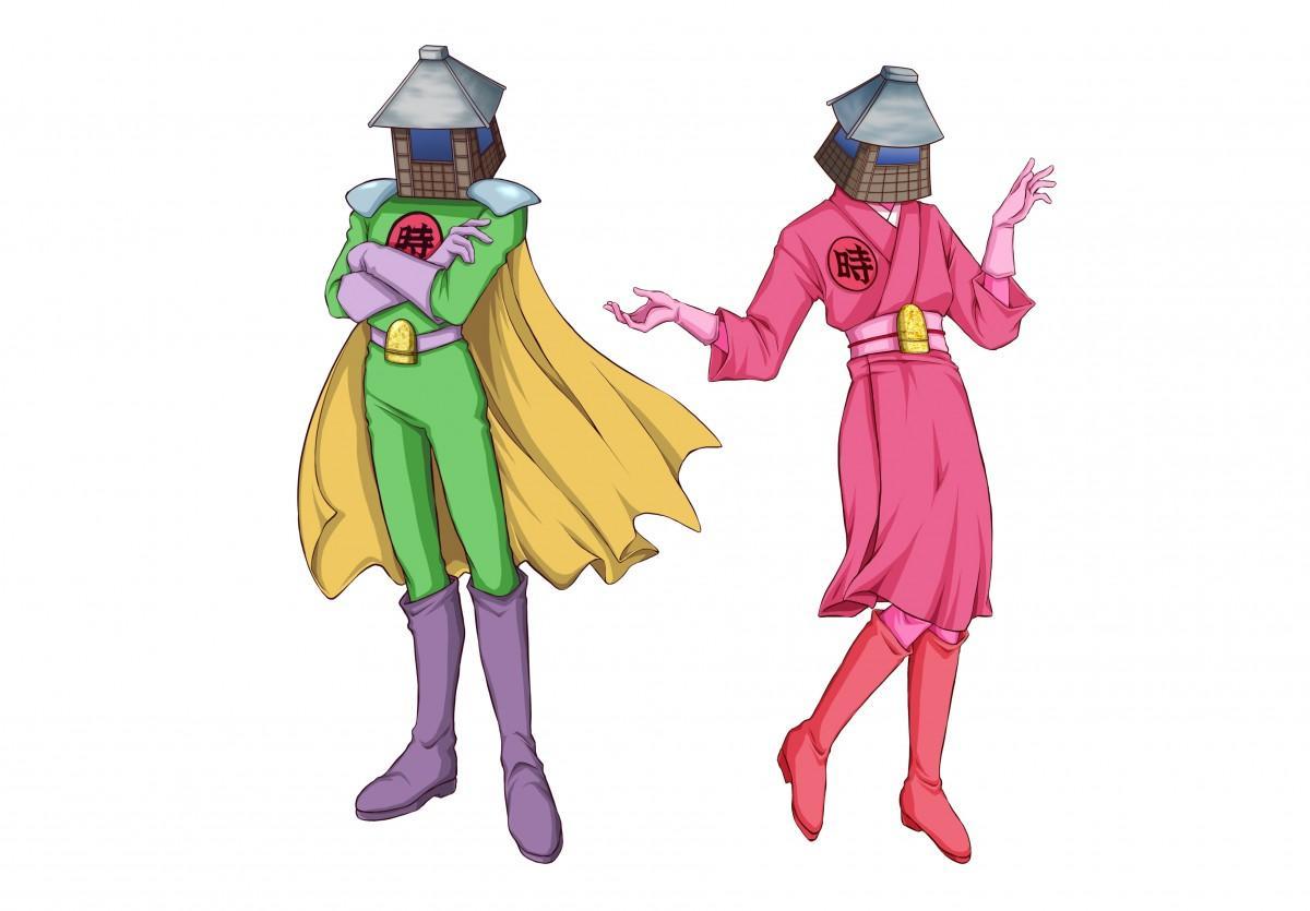 「時の鐘マン」(左)と名前を公募中の「時の鐘マンの妹」(右)
