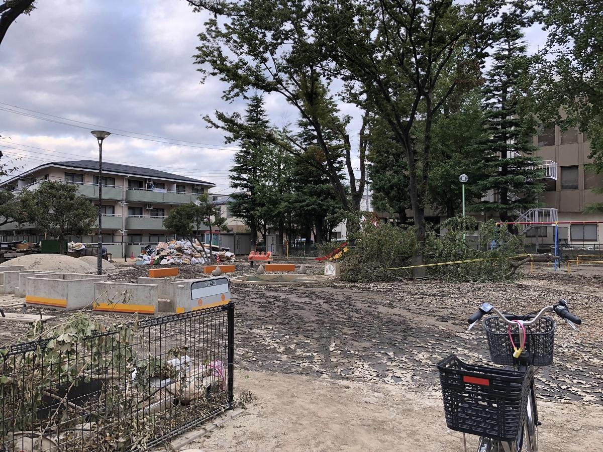 台風19号により、冠水の被害を受けた下沼部公園(中原区、写真提供はブックカフェCoyama)