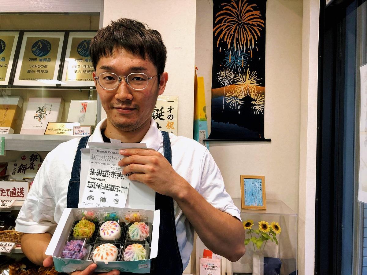 「復活!お菓子de丸子多摩川花火大会」を考案した桔梗屋・三代目の須田洋義さん