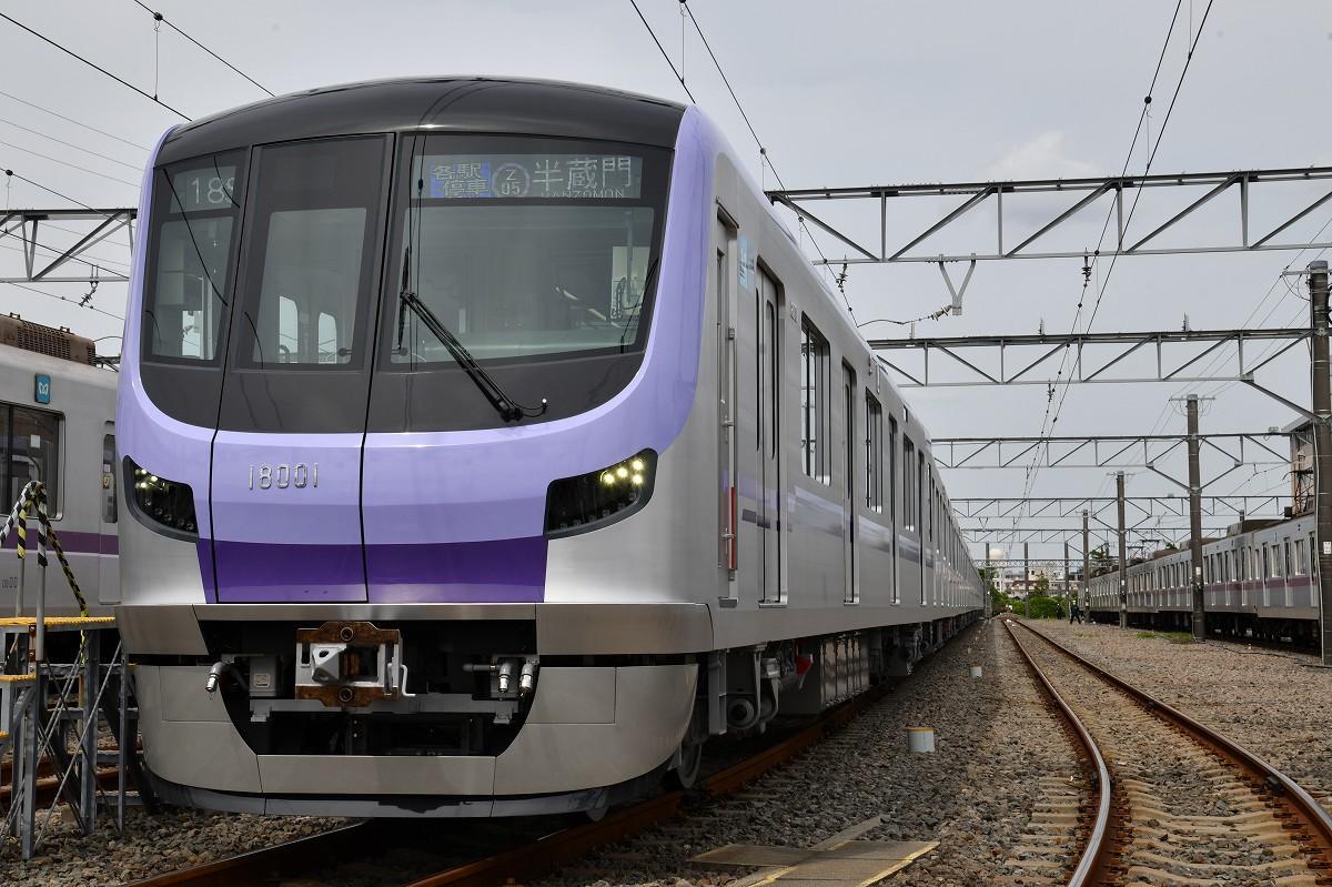 東京地下鉄 鷺沼車両管理所(川崎市)で公開された新型車両18000系車両(撮影=加藤恵三)