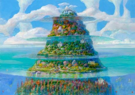 幻想的な「イバラードの世界」に触れられる展示会。写真は版画作品の一つ「多層海好天」