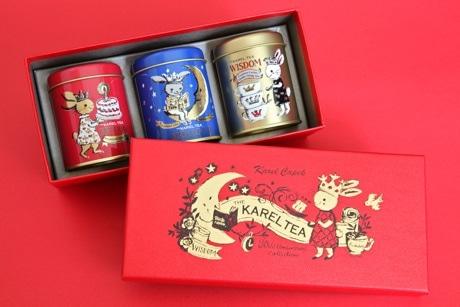 創業30周年を記念した紅茶セットは、オリジナルイラスト入りボックスに3つの缶とブックレット入り