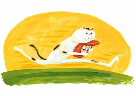 新作絵本にちなみ「高畠那生のなつやすみ展」のために描き下ろした作品 《走るまねきねこ》2017年©NAO takabatake