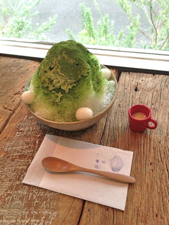 1週間限定で提供される「お茶とお菓子 横尾」のかき氷。メニューの一つ「宇治金時」