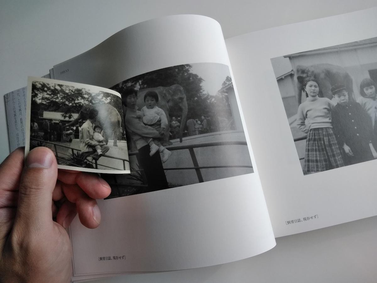 記録集「はな子のいる風景」より。「貼り込まれた写真をひっくり返すと、同日に撮影された別の写真が配置されている」と編集者の松本篤さん