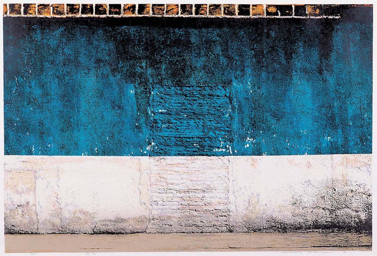 「緑の壁」 1992年 亜鉛凸版・木版、紙(三鷹市美術ギャラリー蔵)