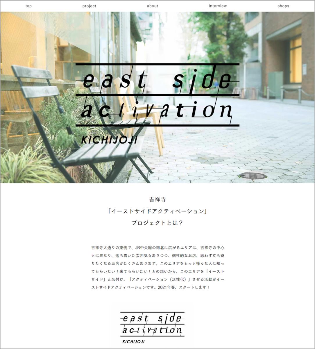 ウェブサイト「イーストサイドアクティベーション」トップ画面