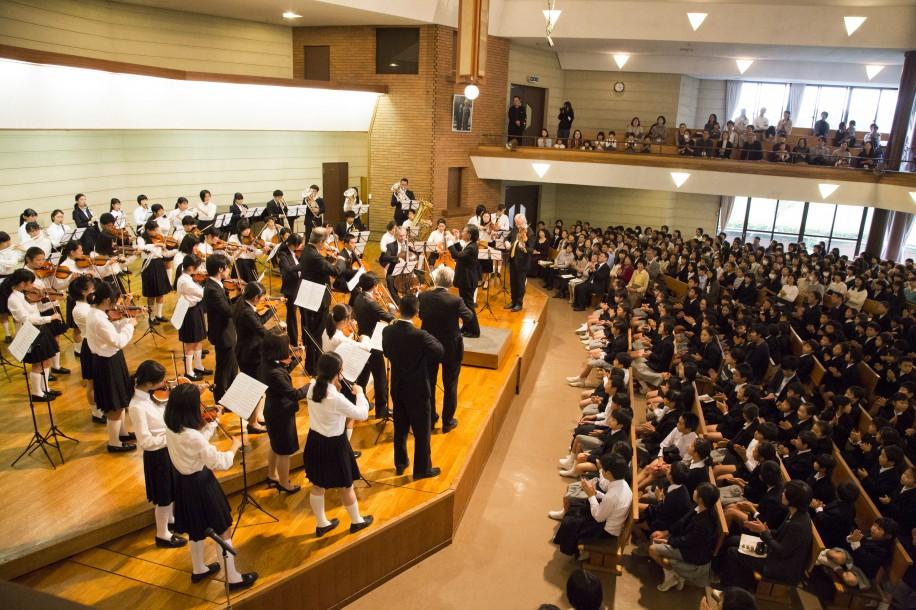 ゲーデ弦楽四重奏団と自由学園生徒・学生有志オーケストラが共演
