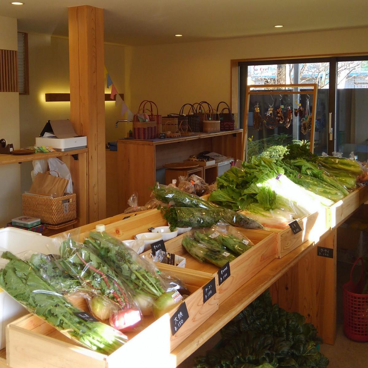 オカノリやオカワカメなど市場に出回らない地場産の野菜も並ぶ