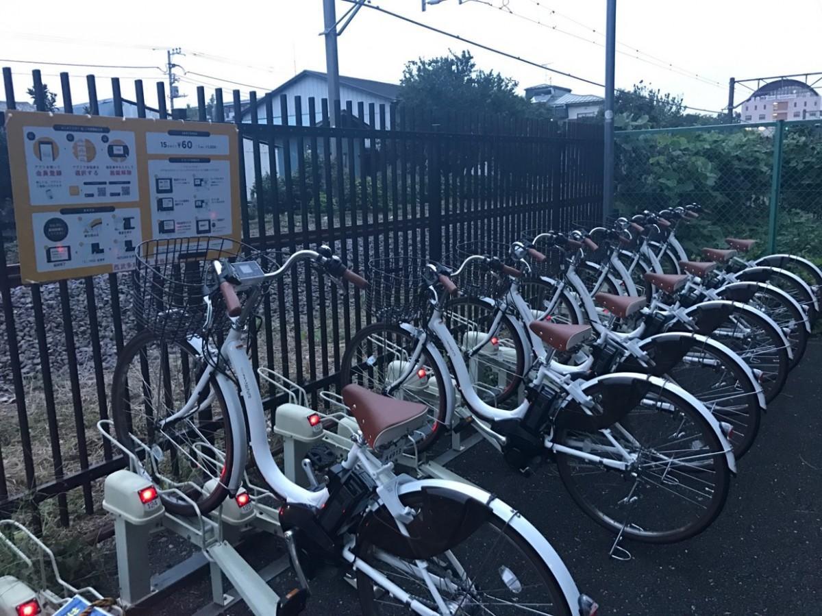 青梅街道駅のシェアサイクルプラットフォーム「HELLO CYCLING」。西武鉄道では東伏見駅・桜台駅にも設置
