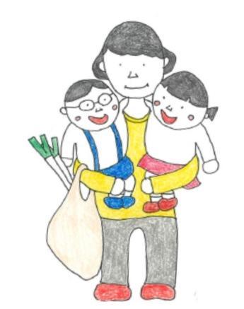 チラシのイラストは担当職員による手描き。「まちこちゃんとお友達のよしおくん、まちこちゃんのお母さん」