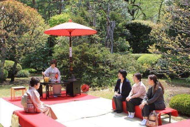庭園で抹茶と景色を楽しむ参加者たち