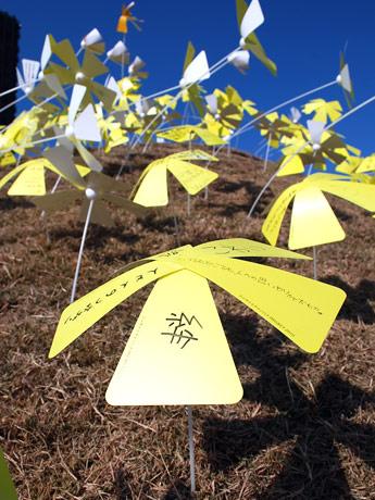 メッセージカードには「絆」「命」などさまざまなメッセージが書き込まれた