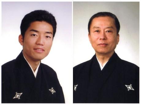 新内節三味線の人間国宝・新内仲三郎さん(右)と長男・新内剛士さん(左)