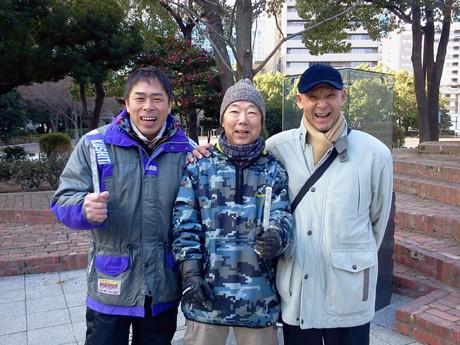 往年の名ライダー、右から片山敬済さん・清原明彦さん・塚本昭一さん