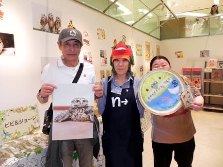 左から「ビビ&ジョージ」の近野吉晴さん、橋本成美店長、「とりみカフェ『ぽこの森』」の梅川千尋さん