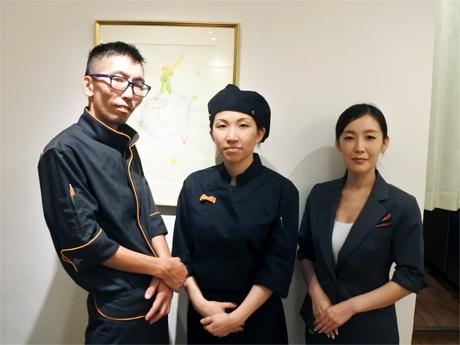 左から、シェフの大町誠さん、パティシエの永田麻衣さん、フロアマネジャーの赤永晶子さん