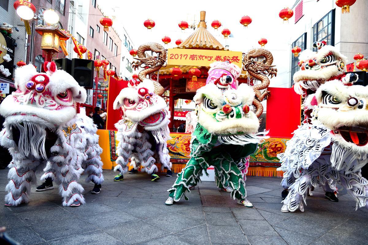 昨年の南京町春節祭での獅子舞演舞の様子