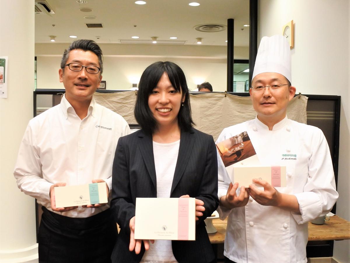 左から、喫茶担当の吉村六行さん、企画担当の陰山七那さん、開発担当の吉元太悟さん