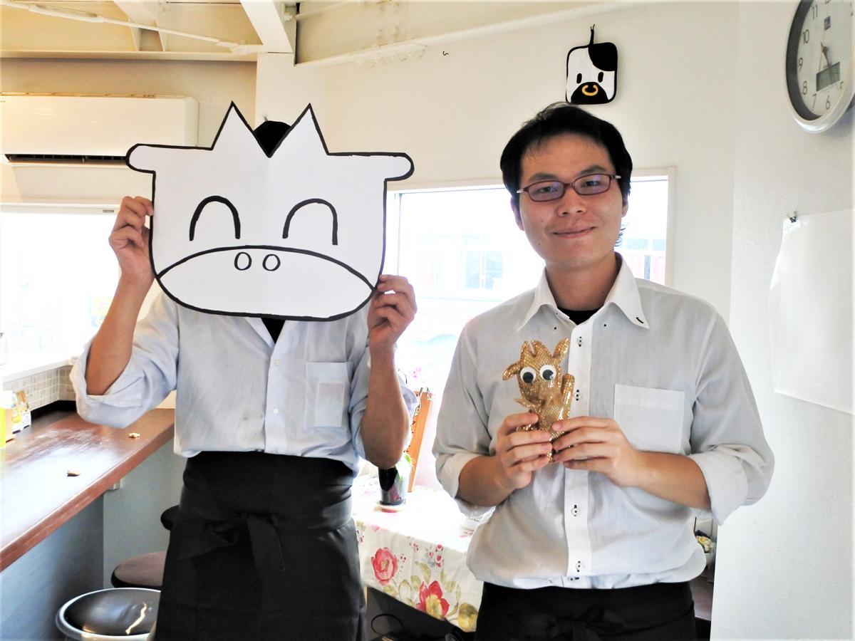 「もーえーズ キッチン」を共同経営する青柳秀孝さん(左)と岡川紘宜さん(右)